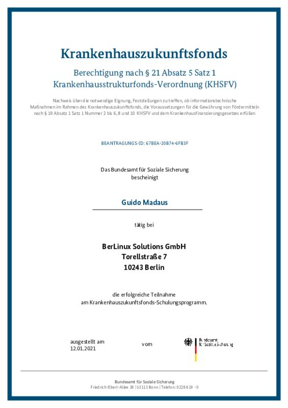 Zertifikat Guido Madaus
